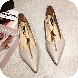 Ling-long 2020 Women Pointed Shoes Women's Korean Style Flat Top Shoes Low-Cut Scoop Shoes Woman Versatile Zipper Daily Falts Loafers Shoe