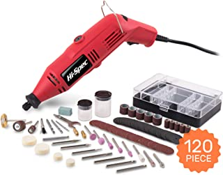 Hi-Spec 135W Corded 8,000-30,000rpm Multi Purpose Rotary Power Tool. For Cutting and Crafting, as a Sander, Grinder, Engraver & More. Includes 120 Piece Bits Accessories Kit. DREMEL Bits Compatible