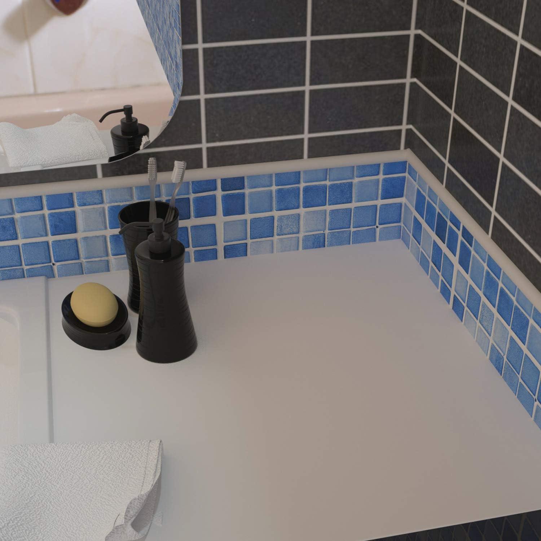 Tile Edge Trim, 9 Feet Peel and Stick Tile Trim Edging for Kitchen and  Bathroom Backsplash, Flexible Wall Trim White