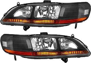 For 98 99 00 01 02 Honda Accord 2-Door / 4-Door Headlight Assembly Replacement, Black Housing Amber Reflector