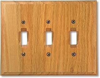 Amerelle Traditional Triple Toggle Wood Wallplate in Light Oak