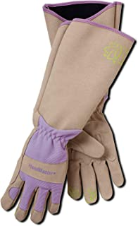 Magid Glove & Safety BE195TL Professional Rose Pruning Thorn Proof Gardening Gloves with Extra Long Forearm Protection for Women, Large, Tan & Purple
