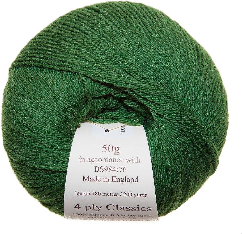seguro de calidad Paquete de 10, 10, 10, 50 G de bolas Woolyknit 4ply clásicos (500 G)   100% lana Merino, de la mano de hilo para tejer, lana, Forest, 500 g  preferente