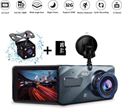 ETEYES Dash cam Dual Lens car Dashboard Camera in Car Vehicle Driving DVR Recorder Front and Rear 1080P+720P Dashboard Camera Night Vision Waterproof Backup Camera
