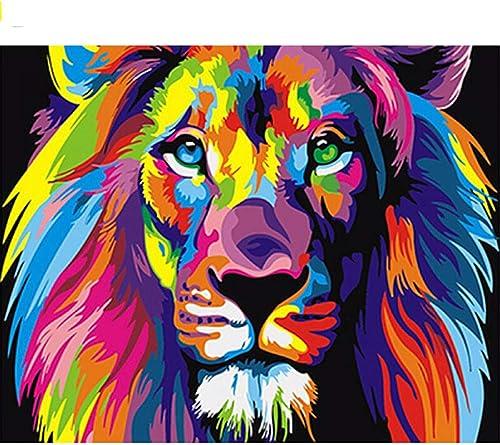 orden ahora disfrutar de gran descuento QIAISHI Sin Marco Colorido León Animales Pintura Abstracta DIY DIY DIY Pintura Digital por Números Moderno Imagen de Arte de Parojo para el Hogar Arte de Parojo  servicio honesto