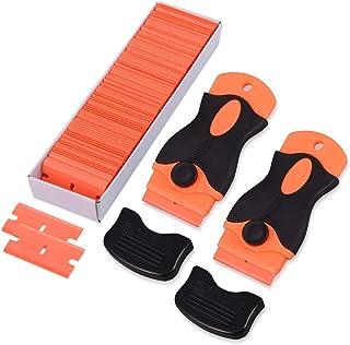 FOSHIO 2er Set Schaber Pro mit 100pcs Kunststoffklingen, Sicherer Multifunktionaler Schaber für Auto / Fenster / Glas / Ceranfeld Aufkleber Entferner