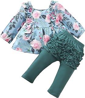Fall Toddler Girl Clothes 2Pcs/Set, Ruffles Dress Tunic Tops+Bell-Bottomed Pants