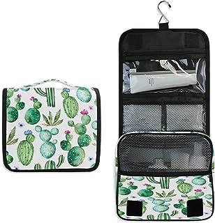 AUUXVA Travel Hanging Toiletry Bag Tropical Cactus Pattern Portable Cosmetic Make up Bag Case Organizer Wash Gargle Bag Wa...