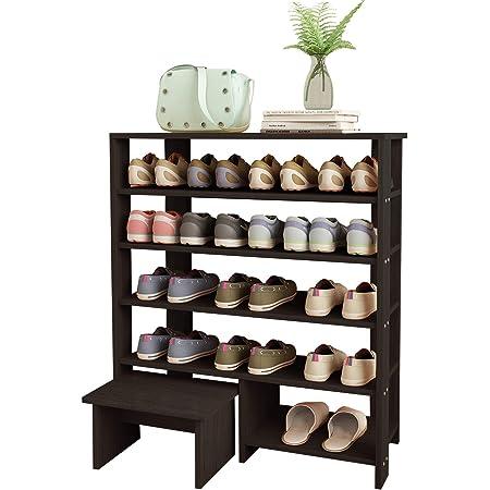 Jerry & Maggie - 5 Tier Wood MDF Shelf Shoe Rack with One Footstool/Shoe Storage Shelves Free Standing Flat Shoe Racks Classic Style -102% Multi Function Shelf Organizer - Black
