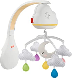 Fisher-Price Nuages Apaisants mobile musical pour lit bébé avec détecteur de pleurs, sons et lumières, transformable en ve...