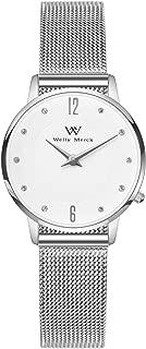 Welly Merck Rose Gold Swiss Women Watch 26mm Minimalist Sapphire Crystal Mesh Strap Band