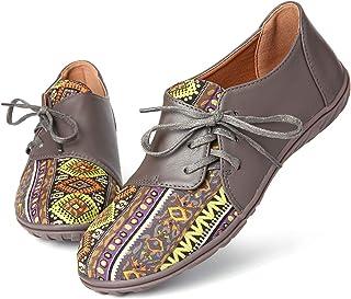 gracosy Mocassins Femme, Chaussures Bateau Plate en PU à Lacets Original Traditionnel Chaussures de Ville Sneakers Espadri...