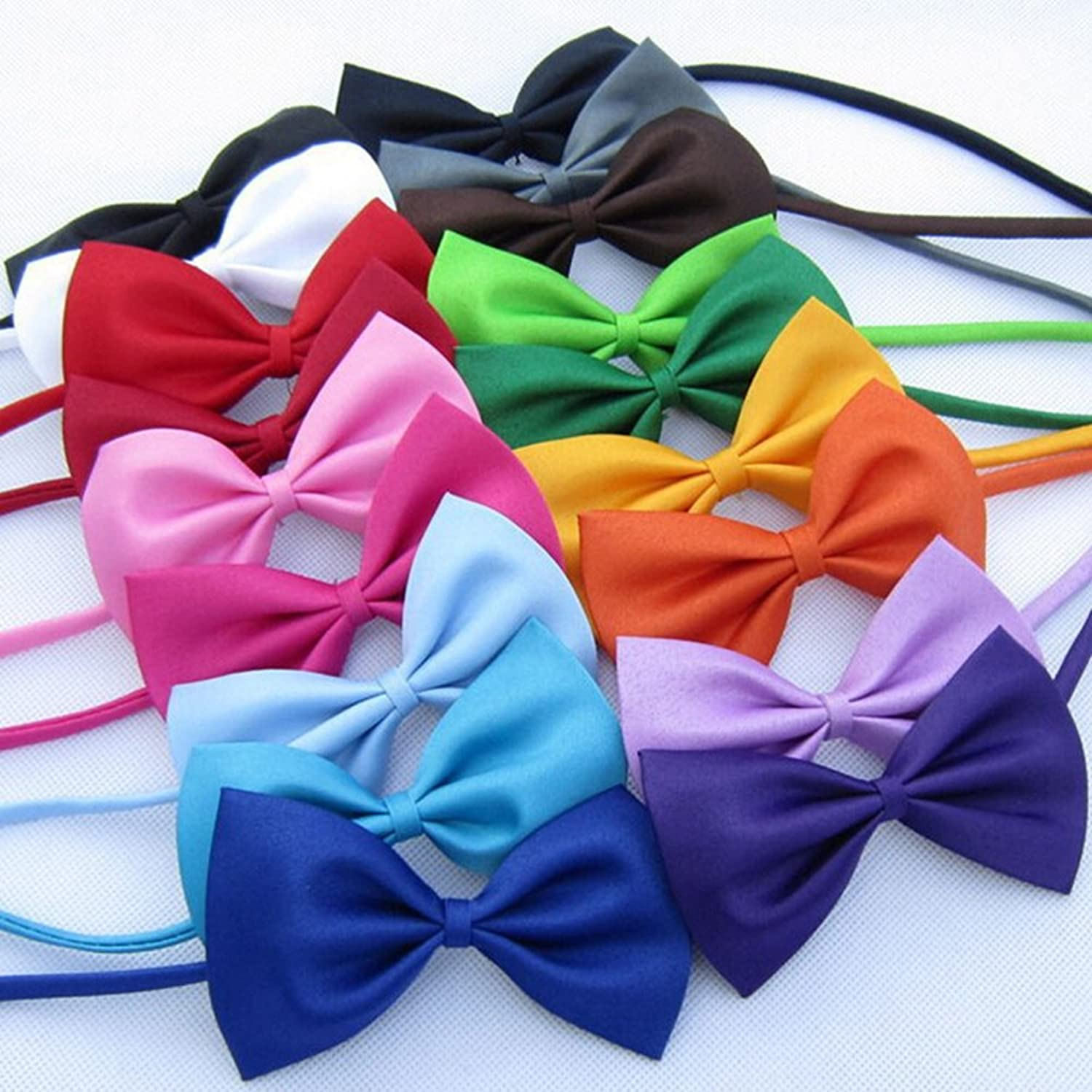 Mix colors Wholesale 100pcs lot Pet Grooming Accessories Rabbit Cat Dog Bow Tie Adjustable Bowtie Multicolor Polyester & Cotton