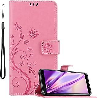 Cadorabo Funda Libro para Samsung Galaxy J4 Plus en Rosa Floral – Cubierta Proteccíon en Diseño de Flor con Cierre Magnético, Función de Suporte e 3 Tarjeteros - Etui Case Cover Carcasa