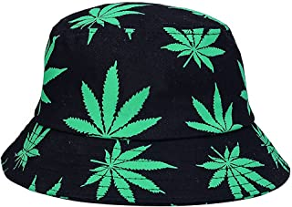 Foldable Bucket Hat Sunhat Bonnie Caps OULII Summer Hats for Women and Men (Green Maple Leaves)