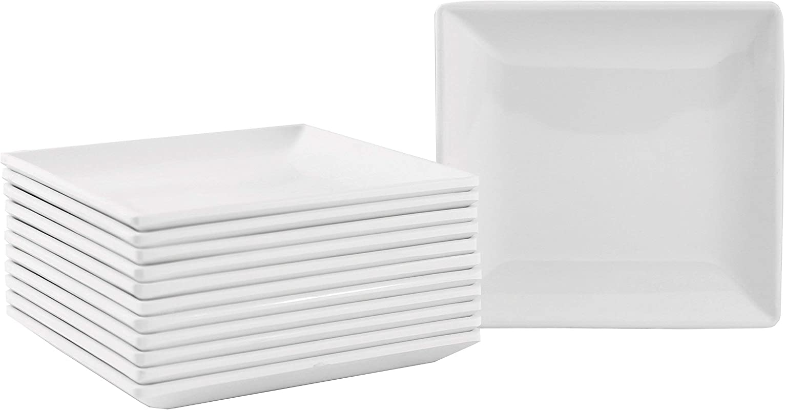 Small Square Melamine Appetizer Plates With Flared Edges And Pan Scraper 4 25 Inches Set Of 12 White