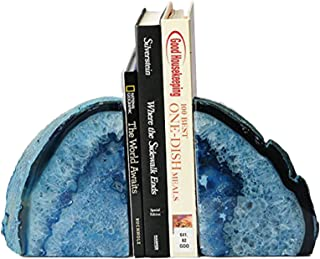 AMOYSTONE Blue Agate Bookends Small 2-3 lbs Polished Dyed Crystal Stone for Books 1 Pair with Rubber Bumpers