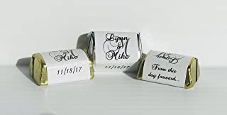 120 Personalized WHITE GLOSS MONOGRAM WEDDING CANDY WRAPPERS/Stickers/Labels (Make your own event or party favors using your HERSHEY NUGGET CHOCOLATES)