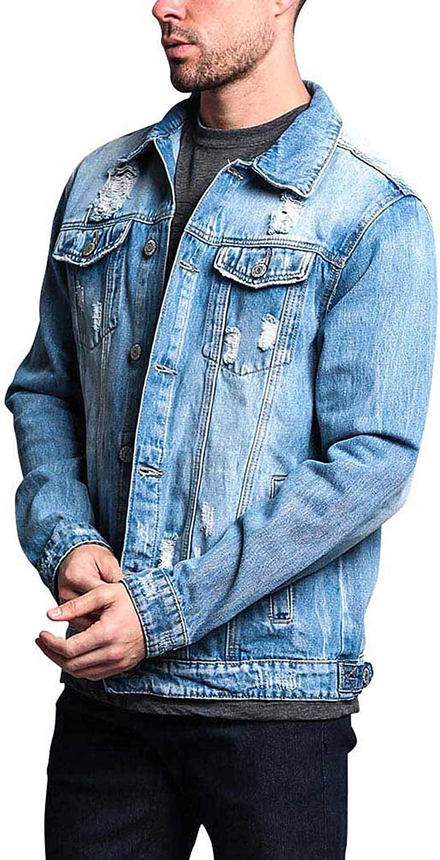 Victorious Men's Premium Cotton Casual Slightly Distressed Denim Jean Jacket DK125 - Indigo