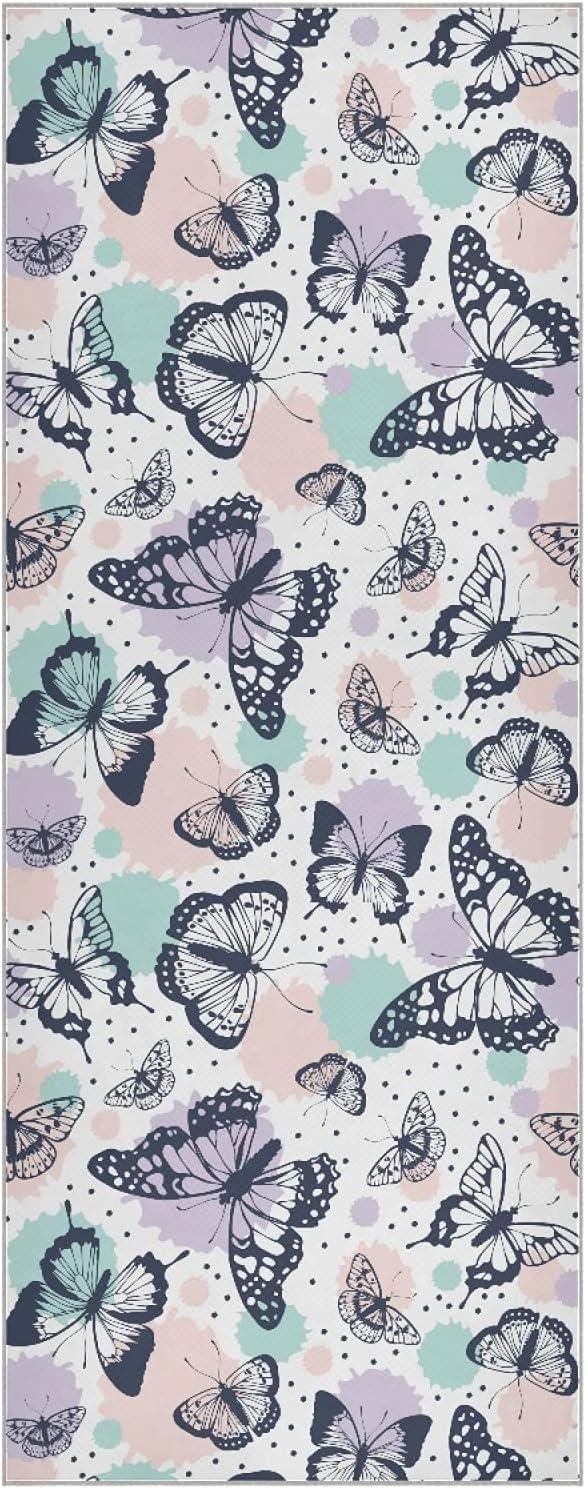 Mazeann Butterflies Gorgeous Pattern Yoga security Mat Super Fiber Sweat Towel Ab