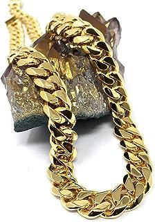 Cadena de eslabones cubanos de oro de 18 quilates, collar para hombre y mujer, 11 mm, corte de diamante, pesado, con cierr...