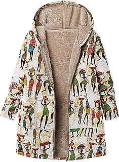 Wadonerful Hooded Jacket for Women Long Sleeve Vintage Floral Print Hoodies Cardigan Winter Warm Oversized Hoodies Coats