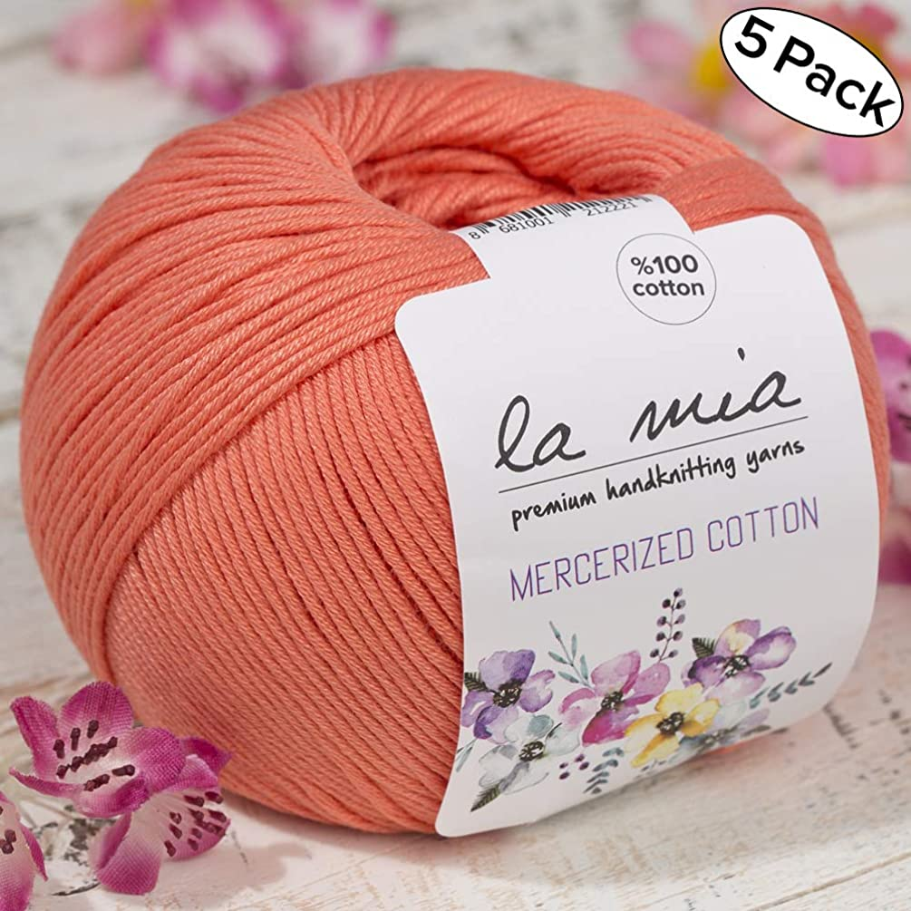 5 Ball%100 Mercerized Cotton Total 8.8 oz. Each 1.76 oz (50g) / 147 Yrds (135m) Super Soft, Dk Light Baby Yarn, Orange - 13