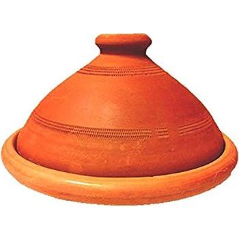 Tajine, original aus Marokko, Tontopf zum Kochen, Tuareg Ø 20cm, für 1-2 Personen, handgetöpfert aus Marrakesch, unglasiert, frei von Schadstoffe