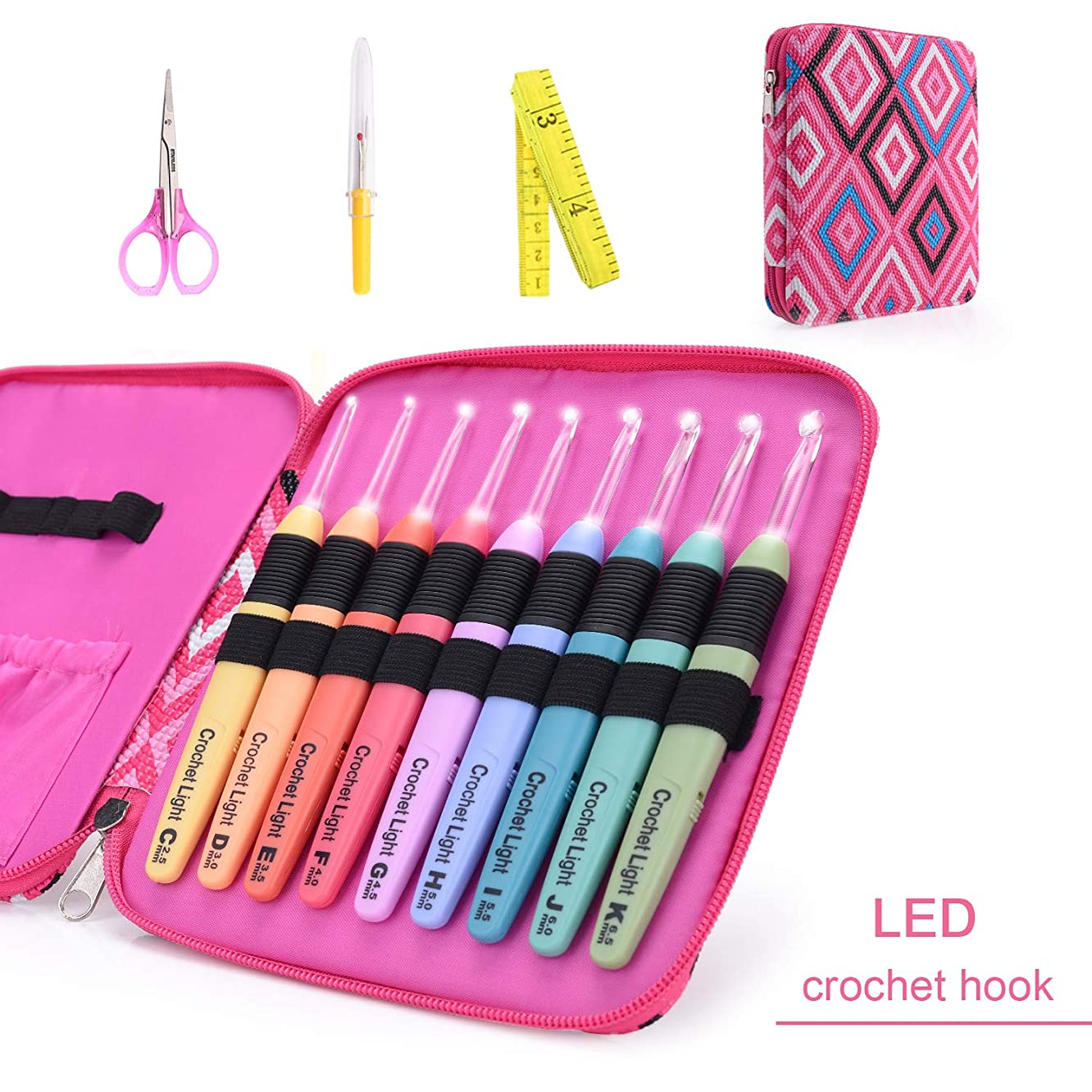 Lighted Crochet Hooks Fashion Pink Case with Crochet Accessd Illuminated 9 Hooks for Arthritic Hands - Size 2.5mm to 6.5mmories - LED Lite Hooks - Ergonomic Grip Handles & Organizer. Color Code
