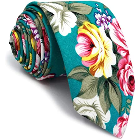 S&W SHLAX&WING Cotton Ties for Men Skinny Necktie Printed Floral
