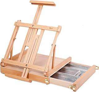 MEEDEN Studio Sketchbox Table Easel with Metal Lined Drawer - Adjustable Solid Beech Wood Tabletop Easel & Sketchbox Artist Easel with Storage, Perfect for Studio or Plein Air - Holds canvases up to 34