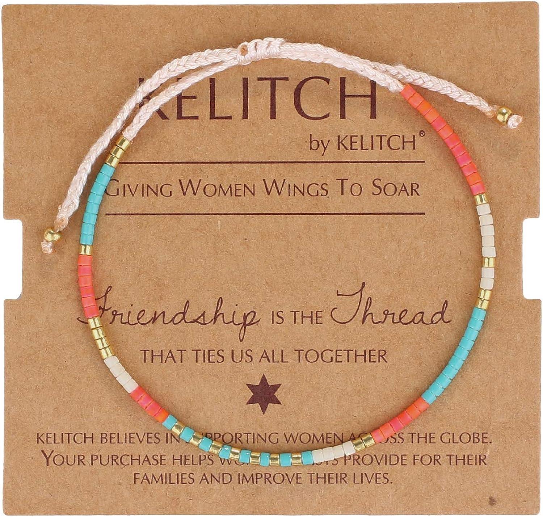 KELITCH Women's Link Bracelets Miyuki Seed Beads Handmade Strand
