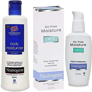 Neutrogena Norwegian Formula Body Moisturizer, 250ml And Neutrogena Oil Free Facial Moisturiser, SPF 15, 115ml