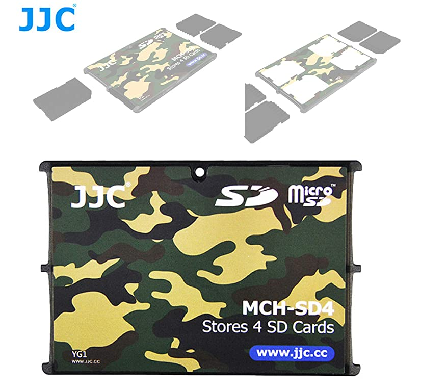 JJC MCH-SD4YG Small Memory Card Case, Wallet SD Card Case, SD Card Holder Case fits 4 SD Cards, Slim, Light Weight, Credit Card Size