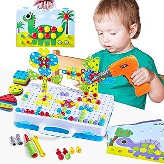 Paochocky Mosaique Enfant Puzzle 3D Jeu de Construction Mosaïque Enfant Jouet à Visser Mosaique avec Perceuse Electrique M...
