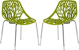 Poly and Bark Birds Nest Dining Side Chair (Set of 2), Green