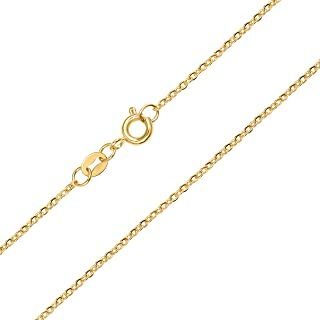 BEBEWO 14K Yellow Gold 1mm, 1.35mm Cable Chain Necklace for Women, Solid Gold Spring Clasp O Cable Chain Necklace 16inch-2...