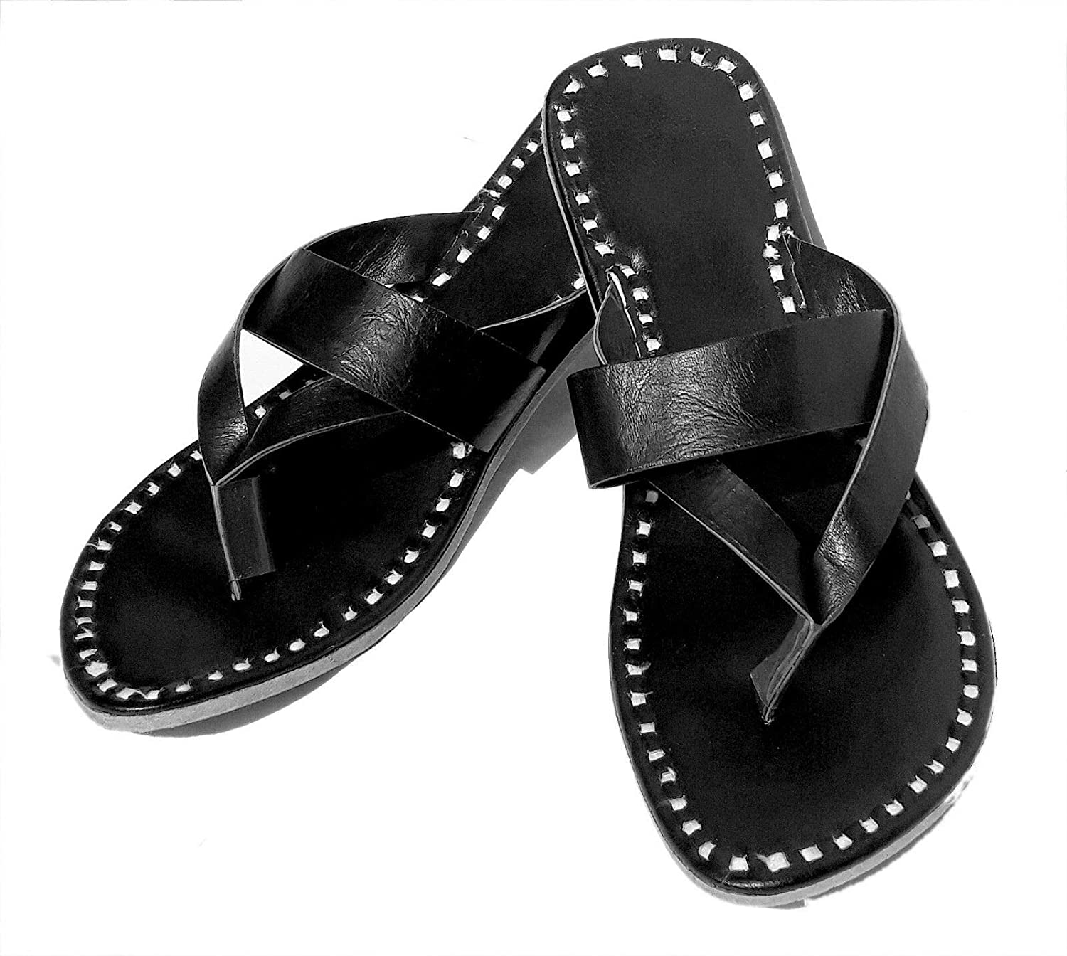 Zenith_Leather Mens Leather Kolhapuri Slippers Ethnic Flip Flop Slippers Indian Traditional Slippers Natural Leather Chappal