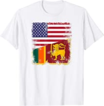 Half Sri Lankan Flag T-Shirt | Vintage Sri Lanka USA Gift