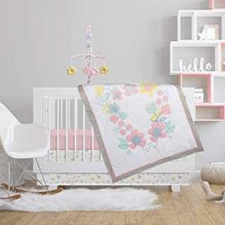 Lolli by Lolli Living 4-Piece Baby Bedding Crib Set with Primrose Pattern. Complete Set with Quilt, 2 Fitted Sheets, and Bed Skirt