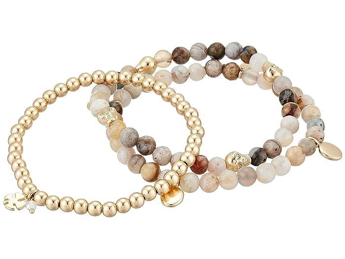 Lucky Brand  White Agate Beaded Bracelet (Gold) Bracelet