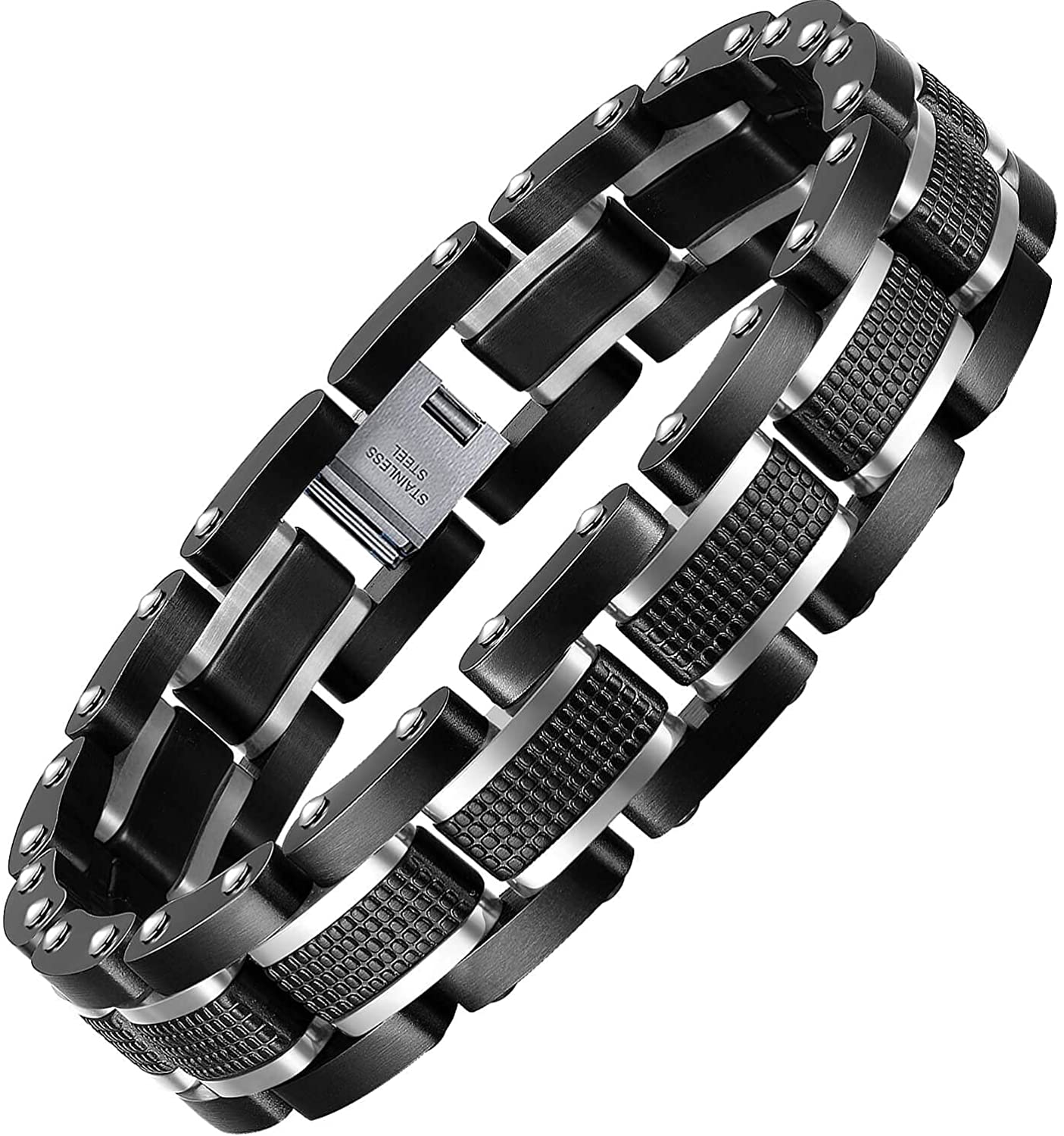 Zillaly Men's Stainless Steel [Alternative dealer] Two-Tone Diamond Quantity limited Link Brace Square