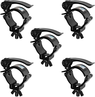 5 Pack 2 Inch DJ Stage Lighting Clamps Truss Clamp Heavy Duty 220 Lbs for Moving Head Light Par Light Spotlight Fit 48-51mm OD Tubing/Pipe, Quick Release, Quick Lock, Threaded Bolt: 10mm