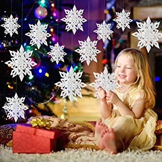 LeeSky Christmas Party Decorations,12Pcs Holiday 3D Glittery Large White Snowflake Hanging Garland Flags -Christmas Winter...