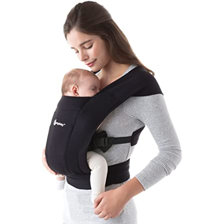 Ergobaby Embrace Cozy Newborn Baby Wrap Carrier (7-25 Pounds), Pure Black