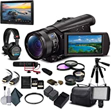 Sony FDR-AX100 4K Ultra HD Camcorder (FDR-AX100 4K PAL) With 2-64GB Memory Card, 2 Extra Batteries, UV Filter, LED Light, ...