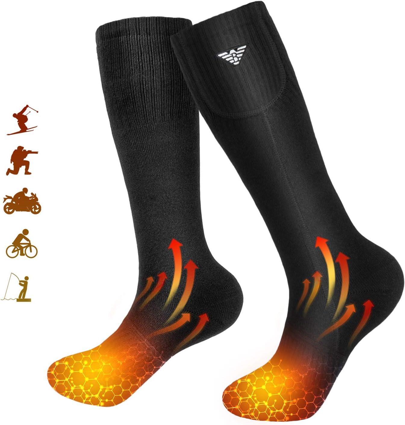 ski moto Chaussettes chauffantes pour homme et femme p/êche cyclisme chaussettes chauffantes /électriques /à piles pour camping