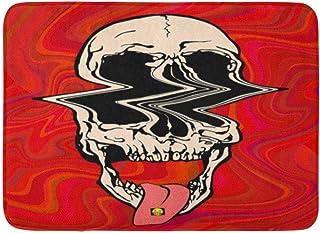 Doormats Bath Rugs Outdoor/Indoor Door Mat Colorful Halloween LSD Psychedelic Skull of Glitch On Acid Trippy Red Pink Hall...
