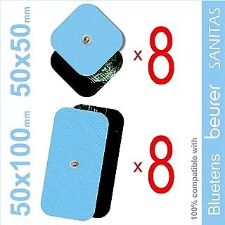 TENSPAD SILVER Pack 16 electrodos para VITALCONTROL, SANITAS, Beurer, BLUETENS (8 electrodos 50x50mm y 8 electrodos 50x100mm con 1 Conector Snap de 3,5 mm)