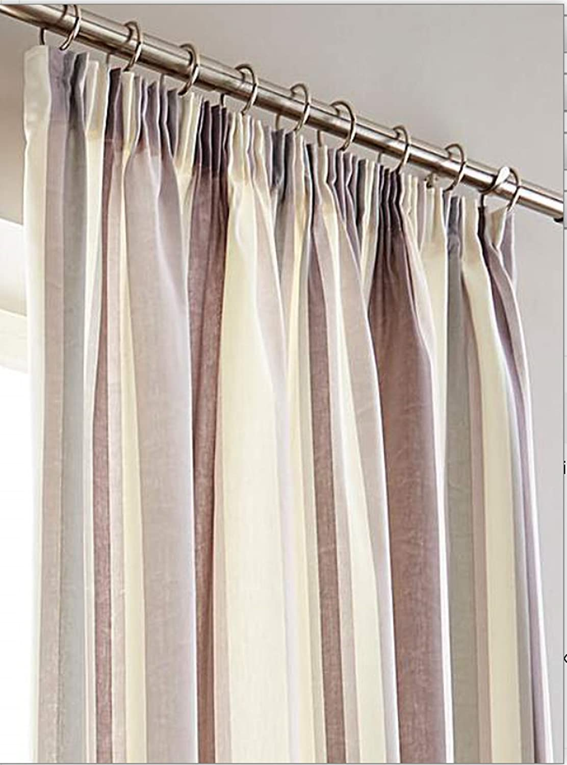 Styled For Your Home Hampton Stripe Heather 66  x 90  Pair Of Tape Top (Pencil Pleat) Lined Curtain Drapes